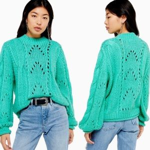 TOPSHOP Turquoise Knitted Lofty Sweater